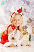 Beauty little Santa girl near the Christmas tree.  Happy girl with bunny celebrates  christmas.