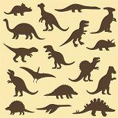 silhouettes of dinosaur