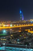 DUBAI, UAE - 3 APRIL 2014: Burj Al Arab hotel in Dubai at night, UAE. Burj Al Arab with 321 meters h
