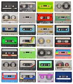 stock photo of magnetic tape  - collection of retro cassette tapes isolated on white - JPG