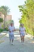 Senior couple run