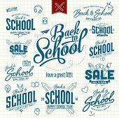 Back to School Calligraphic Designs Label Set On Chalkboard | Retro Style Elements | Vintage Ornamen