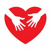 heart icon with caring hands