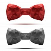 Set of colorful abstract fashion bow tie in triangulation style.