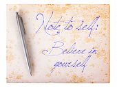 Old Paper Grunge Background - Believe In Yourself