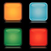 Set of colorful square blank icons with reflection