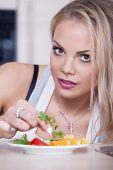 Girl Prepares Salad