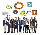 Cheerful Diverse Business People and Symbols