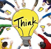 Group of Diverse People with Thinking Concept
