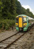Fast Train On Rail Tracks.