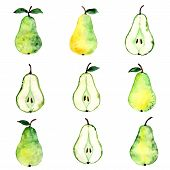 Pear watercolor pattern