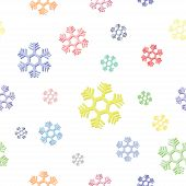 seamless background of colorful snowflake