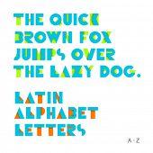 Geometric shapes alphabet letters. Retro font. Latin alphabet letters