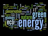 High resolution concept or conceptual abstract green energy and ecology and conservation word cloud