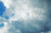 Rain Drops Running Down Clear Glass