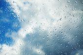 Raindrops Running Down The Window Pane