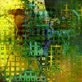 art abstract geometric textured bright green and gold background