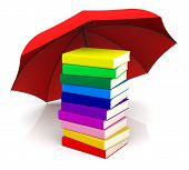 Colorful Book With Red Umbrella