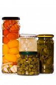 Jars Of Marinaded Vegetables,, Isolated