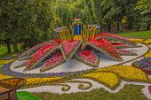 Kiev, Ukraine - August 22. Flowerbed Symbolizing All Regions Of Ukraine