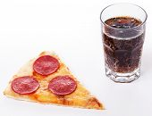 Food, restaurant. Delicious pizza with glass of coke