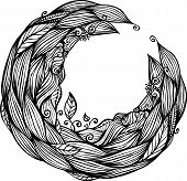 Blue hair waves doodle circle frame
