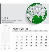 Simple 2015 calendar, November. Vector illustration.