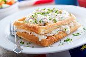 Creamed Haddock And Waffles