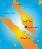 Kuala Lumpur vector color map