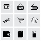 Vector black shop icons set