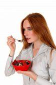 Woman Eating Breakfast.