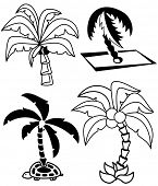 Collection of palm tree silhouettes on white background