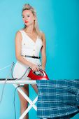Sexy Girl Retro Style Ironing Male Shirt, Woman Housewife In Domestic Role.