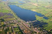 Aerial View Over The Lake. Amsterdam Suburbs