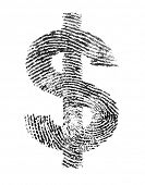 Dollar sign made of a real fingerprint.
