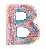 Painted wood alphabet, letter B