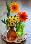 bouquet of chrysanthemum and gerbera in glass bottles