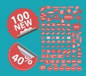 100 sales, shopping, shop isolated stickers, icons, signs, symbols, illustrations, silhouettes, vect
