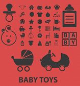 baby toys, kid play, children isolated icons, signs, symbols, illustrations, silhouettes, vectors se
