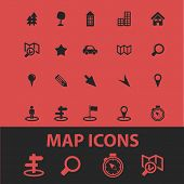 map, route, navigation isolated icons, signs, symbols, illustrations, silhouettes, vectors set