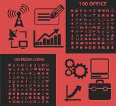 200 office, media, multimedia, computer isolated icons, signs, symbols, illustrations, silhouettes,