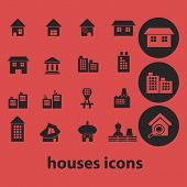 houses, building, home isolated icons, signs, symbols, illustrations, silhouettes, vectors set