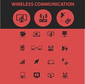 wireless network, router, connection isolated icons, signs, symbols, illustrations, silhouettes, vec