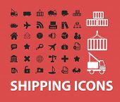 shipping, logistics, transportation isolated icons, signs, symbols, illustrations, silhouettes, vect
