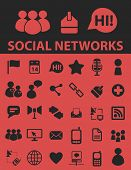 social networks, internet, blog, community isolated icons, signs, symbols, illustrations, silhouette