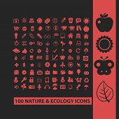 100 nature, ecology, biology isolated icons, signs, symbols, illustrations, silhouettes, vectors set
