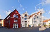 Houses On Blue Promenade Of Stavanger, Norway