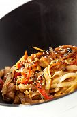 Udon with Fried Chicken and Vegetables