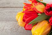 Fresh colorful tulips over wooden background with copy space