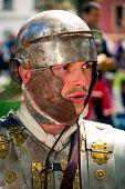 Roman Soldier With Helmet Close Up Portrait